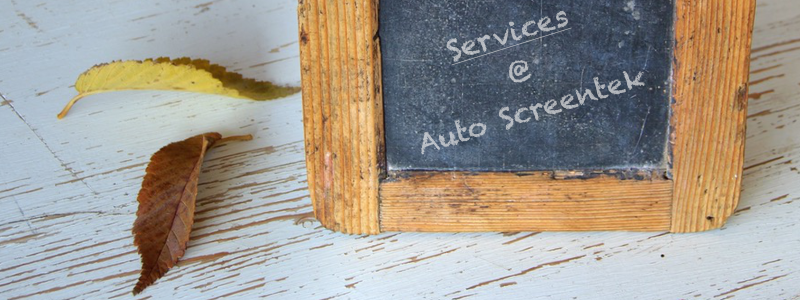 Chalkboard with services at Auto Screentek